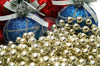 New Year s celebratory ornaments and golden beads