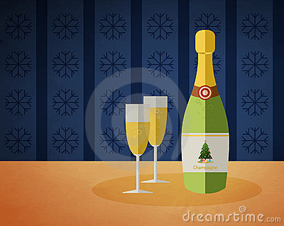 New Year s champagne bottle and two glasses