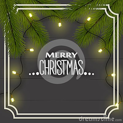 New Year`s Christmas background, top view. Christmas tree branches, illumination lights garland on the boards in the frame. Vector Illustration