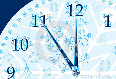 New year s clock background, vector