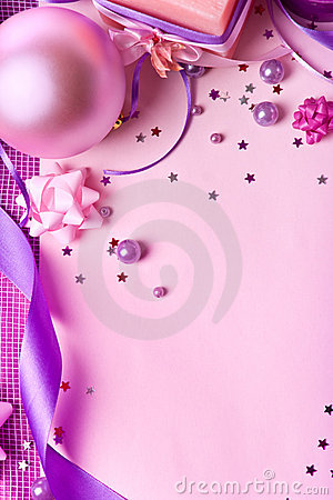 New Year s decor in violet tones (top view)