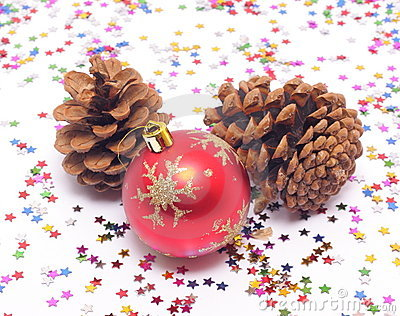 New Year's Decorations And Spruce Cones Royalty Free Stock Photos - Image: 21790158