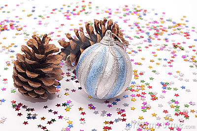 New Year's Decorations And Spruce Cones Royalty Free Stock Image - Image: 21795196