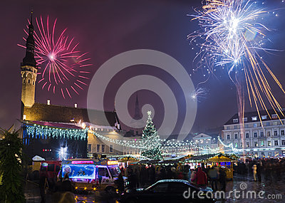 New year s fireworks in Tallinn Editorial Photography