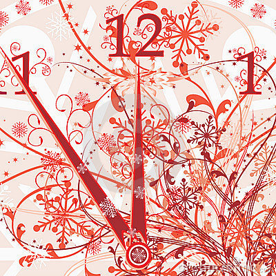 New year s floral clock background, vector