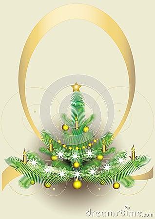 New year s fluffy fir-tree.Postcard.Background