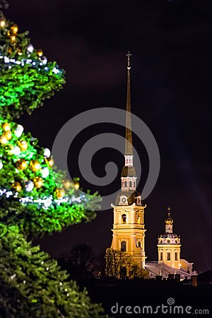 Free New Year`s Landscape With A Green Decorated Christmas Tree St. Petersburg View Of The Peter-Pavel`s Fortress. Stock Image - 106902061
