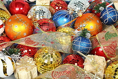 New Year s ornaments of different color and gift ribbons 1