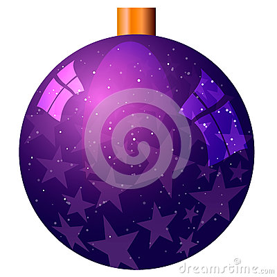 New Year`s purple ball with stars isolated on white background. Cartoon Illustration