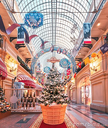 Free New Year`s Scenery In GUM On Red Square. Christmas Tree. Stock Image - 132403591