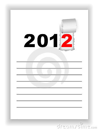 New Year s sheet notebook with the words 2012