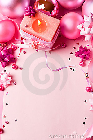 New Year s still-life in pink tones (top view)