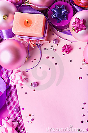 New Year s still-life in violet tones (top view)