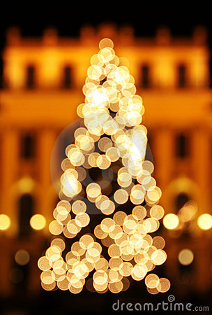 New Year s tree made from bokeh lights