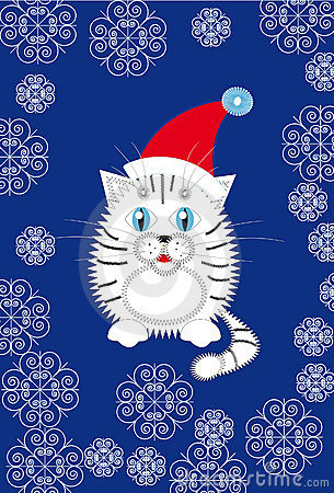 New Year s white tiger cub in a Santa hat