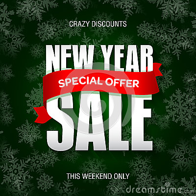 New Year sale badge, label, promo banner template. Special offer Vector Illustration