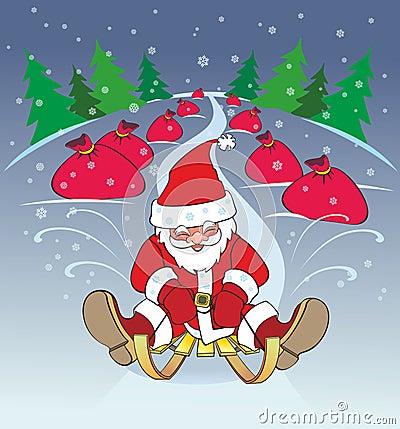 New Year, santa claus sleigh, gifts