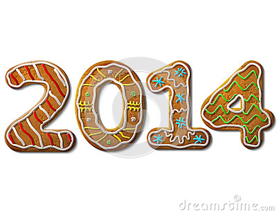 New Year 2014 in shape of gingerbread isolated on