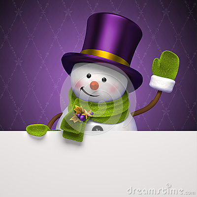 New year snowman hat greeting banner
