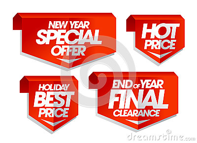 New year special offer, hot price, holiday best price, end of year final clearance sale tags. Vector Illustration