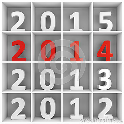 2014 new year square shelf with numbers