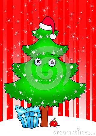 New year tree cartoon  card