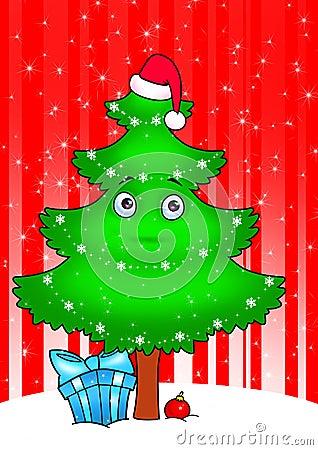 New year tree cartoon  card