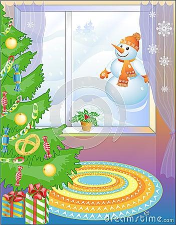 Christmas tree and Snowball (vector)