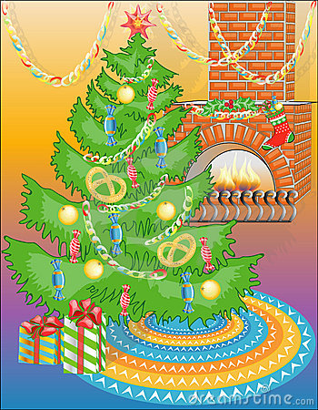 New Year tree with sweets & warm fireplace (vector