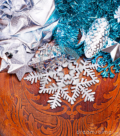 New year wood background with beautiful decorations