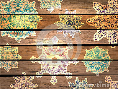 New year wood background with beautiful snowflakes