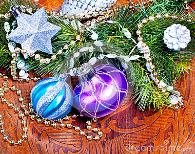 New year wood background with colorful decorations