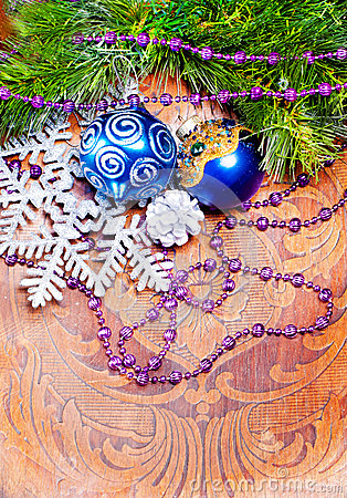 New year wood background with decorations