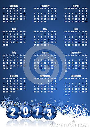 New years 2013 calendar