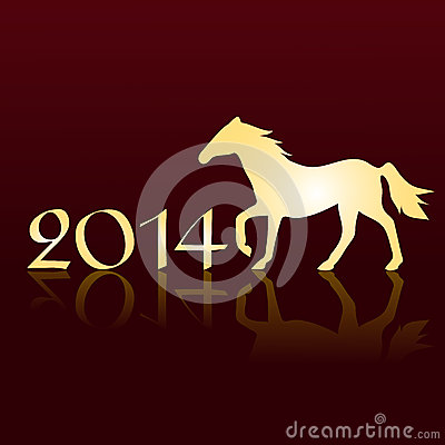 New Years card 2014 with a horse