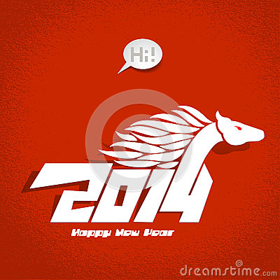 2014: New Years card, vector illustration.