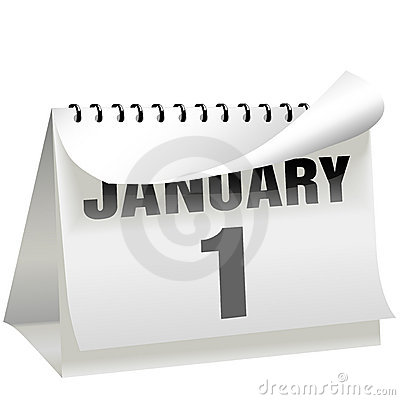 New Years Day Calendar Turns Page January 1
