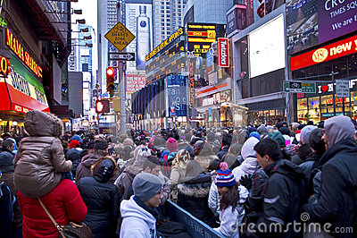 New Years Eve Crowd Times Square Editorial Stock Photo
