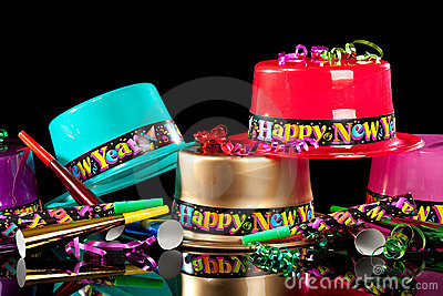 New Years  Eve party hats on  black background