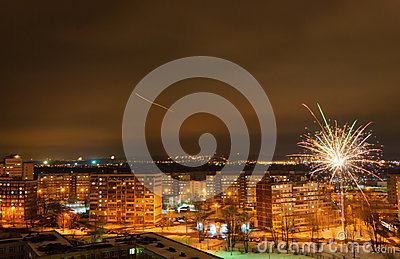 New Years fireworks over the city of Kazan