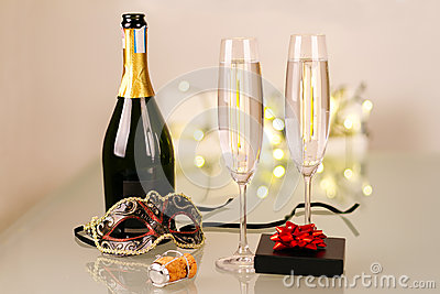 New Years party with bottle of champagne