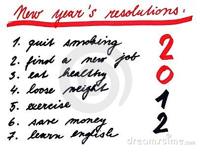 New years resolutins list 2012