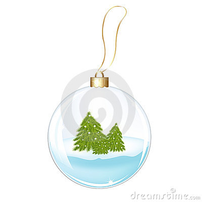 New Years Sphere With Fur-trees. Vector