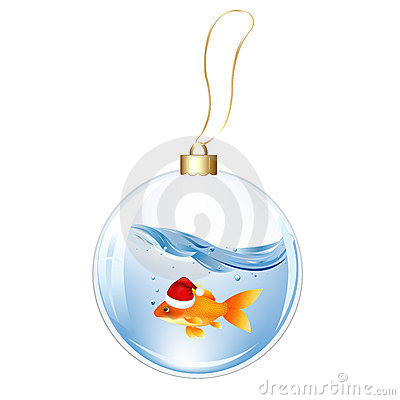 New Years Sphere With Goldfish. Vector