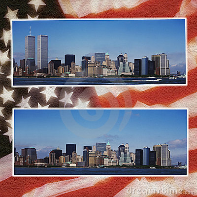 New York - Before & After 9/11 - Flag