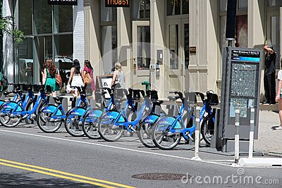 New York bicycle sharing Editorial Stock Image