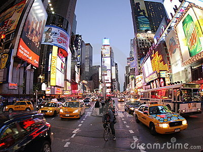 New York Broadway at night Editorial Stock Photo