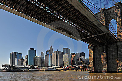 New York Brooklyn Bridge with Manhattan as backgro