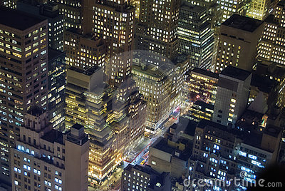 New York buildings at night