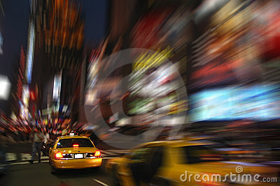 New York cab at Times Square by night